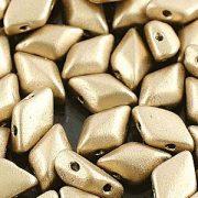 Czech glass gem duo 2 hole backlit gold beads