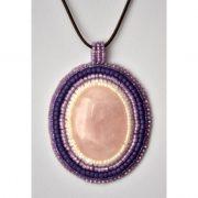 Cabochon bead embroidery kit rose quartz