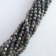 Czech glass fire polished beads hematite 3mm