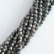 Czech glass fire polished beads hematite 4mm