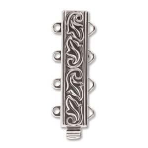 elegant element clasp, silver swirl