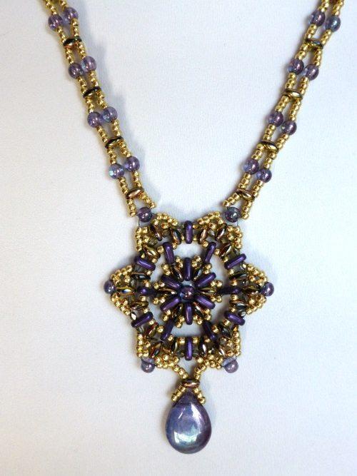 Tri star necklace beading kit, purple gold