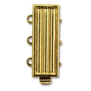 elegant element delica clasp, 3 strand gold
