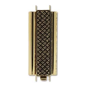 Elegant elements tube slide clasp gold cross hatch