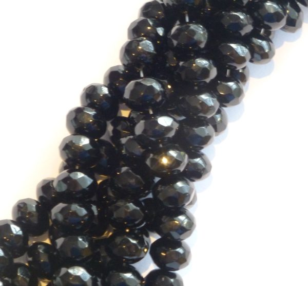 Czech facetted glass rondels, 6x9mm, jet black R69-2398
