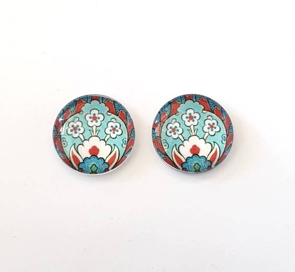 18mm Glass Cabochon, Red Blue Floral, C18-RBF