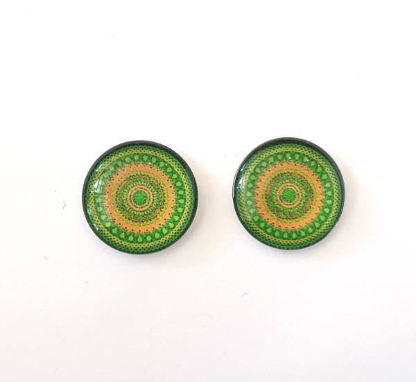 18mm Glass Cabochon, Mandala Lime, C18-ML
